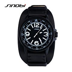 SINOBI Men's Sport Watch Wrist watch Water Resistant / Water Proof Sport Watch Quartz Leather Band Black