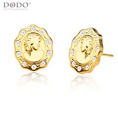 Europe Maid Face Stud Earrings For Women/Men Jewelry 18K Gold Plated White Crystal New Trendy Earrings E10124