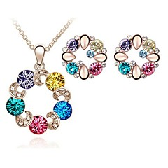 Jewelry Set Shining Crystal Elegant Multicolor Circle Pendant Necklace Earring(Assorted Color)