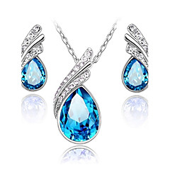 Jewelry Set Shining Crystal Angle Tears Water Drop Pendant Necklace Earring(Assorted Color)