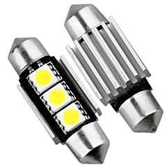 2 x CANBUS NO ERROR 3 SMD LED Interior Bulb Light 36mm