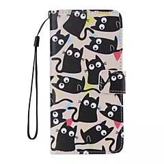 Pentru Carcasă iPhone 5 Portofel / Titluar Card / Cu Stand / Întoarce / Model Maska Corp Plin Maska Pisica Greu PU pieleiPhone 7 Plus /