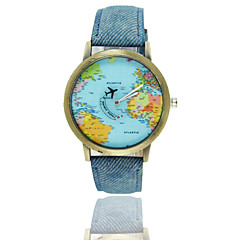2016 top brand luxury men women World map airplane needle Watches Women Men Denim canvas with leather quartz Wrist Watch Cool Watch Unique Watch
