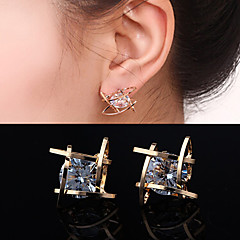 Stud Earrings Zircon Cubic Zirconia Rhinestone Alloy Silver Golden Jewelry Wedding Party Daily Casual 2pcs