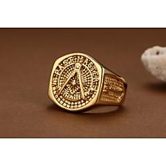 Anéis Casamento / Pesta / Diário / Casual / Esportes Jóias Chapeado Dourado Masculino Anéis Statement 1pç,9 / 10 / 11 / 12 Dourado