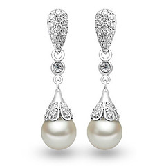 Lureme®  Korean Fashion Crystal 925  Sterling Silver Shell Pearl Roundness Earrings