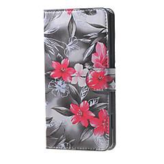 desen cüzdan deri çevirme çiçeklenme kırmızı çiçekler Microsoft Lumia 650 için kart yuvası ile davayı standı