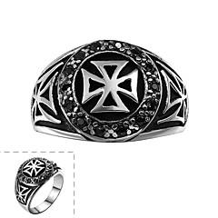 anillo de la manera de los hombres generosos acero inoxidable cruz circonio cúbico negro (negro) (1 unidad)