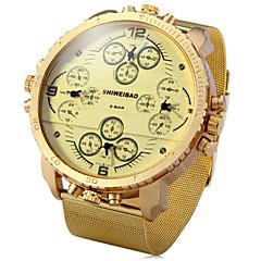 Herren Armbanduhr Quartz Duale Zeitzonen Drei-Zeit-Zonen Edelstahl Band Schwarz Gold Marke