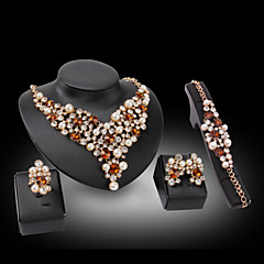 Lucky Doll 18K Gold Plated Imitation Pearl Crystal Rhinestone Necklace & Earrings & Bracelet & Ring Party Jewelry Sets