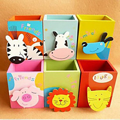 1PC Creative Stationery  Lovely Animal  Painted Wooden Brush Pot  Attach Clamp(Style random)