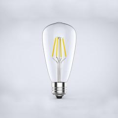 1 pcs kwbled E26/E27 4W 4 COB 400 lm Warm White ST64 edison Vintage LED Filament Bulbs AC 220-240 V