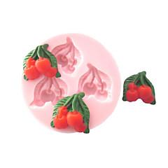 Τρεις τρύπες Cherry Φρούτα φόρμα σιλικόνης Fondant Καλούπια Ζάχαρη Τέχνη Εργαλεία Chocolate Mould για κέικ