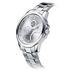 för män vit fall silver rostfritt stål läder band handled klänning klocka