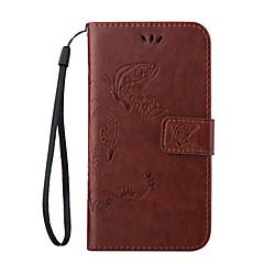 For Samsung Galaxy etui Etuier Kortholder Med stativ Flip Magnetisk Præget Heldækkende Etui Sommerfugl Blødt Kunstlæder for SamsungA5