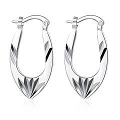 lureme®Fashion Style Silver Plated Irregular Hollow Shaped Hoop Earrings