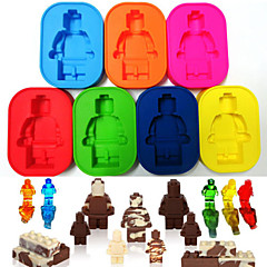 Silicone Robot People Figure Robot Lego Man Ice Tray Chocolate Soap Mold Cake Cube Candy(Random Color)