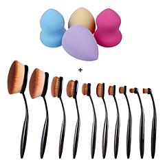 10pcs / set diş fırçası kaş vakıf eyeliner dudak oval fırçalar + 4 adet fondöten puf şekil süngerler