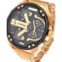 גברים שעוני ספורט שעונים צבאיים שעוני שמלה שעוני אופנה שעון יד קווארץ לוח שנה אזור זמן כפול מתכת אל חלד להקה וינטאג' מגניב יום יומי זהב