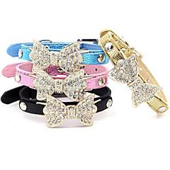 Kediler / Köpekler Yakalar Ayarlanabilir/İçeri Çekilebilir / Yapay Elmas Fiyonk Düğüm Siyah / Mavi / Pembe / Altın PU Deri