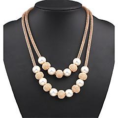 Dam Lager Halsband Pärlhalsband Uttalande Halsband Pärla Legering Mode Statement-smycken söt stil Europeisk kostym smycken Smycken Till