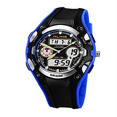 Masculino Relógio de Pulso Quartz LED / Calendário / Cronógrafo / Impermeável / Dois Fusos Horários / alarme PU Banda Preta marca-