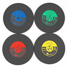 ヴィンテージビニールコースターの1pcsグルーヴィーCD・レコード・テーブルバードリンクカップマット(ramdon色)