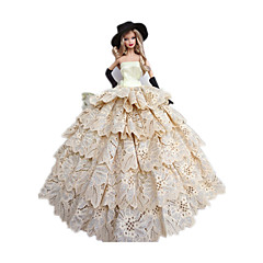 Princess Costumes For Barbie Doll White / Black Dresses / Hats / Gloves For Girl's Doll Toy