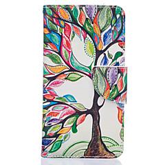 For LG etui Kortholder Pung Med stativ Flip Mønster Etui Heldækkende Etui Træ Hårdt Kunstlæder for LG LG K10 LG K7