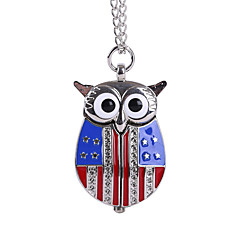 Unisex Pocket Watch US Flag Silver Popeyes cute owl trumpet Shiying Huai table