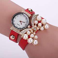 Damen Modeuhr Armband-Uhr Quartz Leder Band Blume Schwarz Weiß Blau Orange Braun Rosa Marke