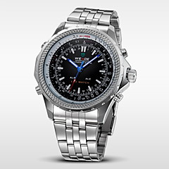 WEIDE Herre Armbåndsur Digital Watch Quartz Digital Japansk Quartz LED Kalender Kronograf Vandafvisende Dobbelte Tidszoner alarmRustfrit