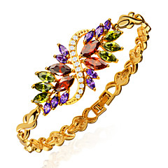 Vintage Jewelry 18k Gold Plated Mix Color Cubic Zirconia Bracelet Luxury Crystal Women Wedding Jewelry Gifts B40160