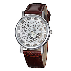 Vintage Women's Hollow Engraving Skeleton Wristwatch Leather Strap Quartz Wrist Watch Cool Watches Unique Watches