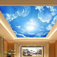 3d fényes bőr hatás nagy lobby mennyezet freskó tapéta kék ég és a felhők mennyezeti festmény art dekor