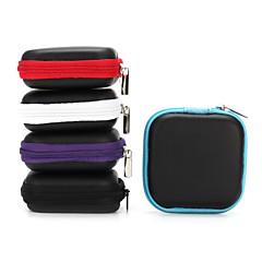 1pc mini rits harde hoofdtelefoon geval pu lederen tas voor oortelefoon oortelefoon earbuds 6,5 * 6,5 * 2 cm zwart paars blauw rood grijs