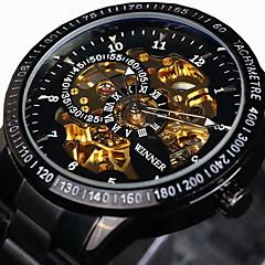 WINNER 남성 스켈레톤 시계 손목 시계 기계식 시계 방수 중공 판화 타키 미터 야광의 오토메틱 셀프-윈딩 스테인레스 스틸 밴드 빈티지 멋진 럭셔리 블랙 실버