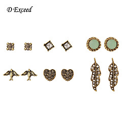 Earring Stud Earrings / Drop Earrings Jewelry Women Gemstone & Crystal / Gold 1pc White / Green