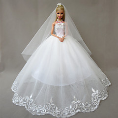 Barbie Doll White Wedding Dress with A Long Veil Hyacinth's Love