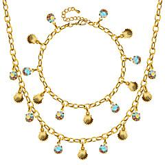 Ensemble de bijoux Cristal Coquillage Mode Doré Collier / Bracelet Mariage Soirée Quotidien Décontracté 1set Colliers décoratifs Bracelet