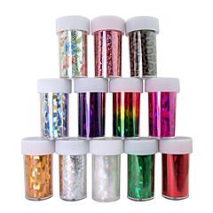 12PCS Laser Foil Nail Decorations Starry Nail Stickers No.1-12(120x4x0.1cm)