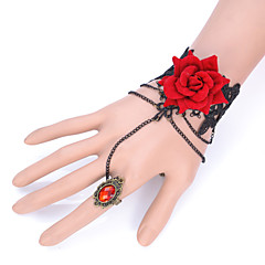 Gothic Style White/Black Lace Flower Rose Ring Bracelet for Lady Body Jewelry