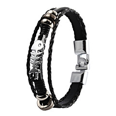 Vilam® High Quality PU Leather Super Shining Zinc Alloy Fish Bone Skeleton Men's Multi-layer Bracelet