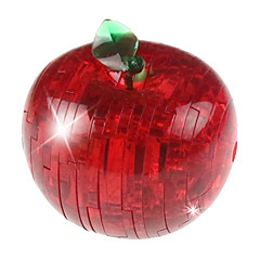 ABS 3D DIY Flash Apple Crystal Puzzle Educational Toys For Kids Or Adults Red/Green