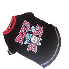 Verano - Negro Algodón - Camiseta - Perros - XS / S