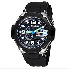 Herren Armbanduhr Japanischer Quartz LCD / Kalender / Wasserdicht / Duale Zeitzonen / Alarm / leuchtend Caucho Band Schwarz Marke-