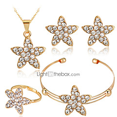 Lucky Doll Alloy / Rhinestone / Rose Gold Plated Jewelry Set 4 pcs Party / Daily 1set