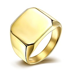 Simple Fashion Men's  Gold-Plated Titanium Steel Band  Rings(Golden,Silver)(1Pc)