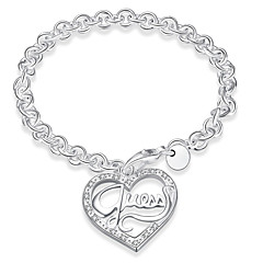 Ms Heart-shaped Silver Bracelet
