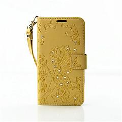 Voor Nokia hoesje Portemonnee / Kaarthouder / Strass / met standaard / Reliëfopdruk hoesje Volledige behuizing hoesje Vlinder Hard PU-leer